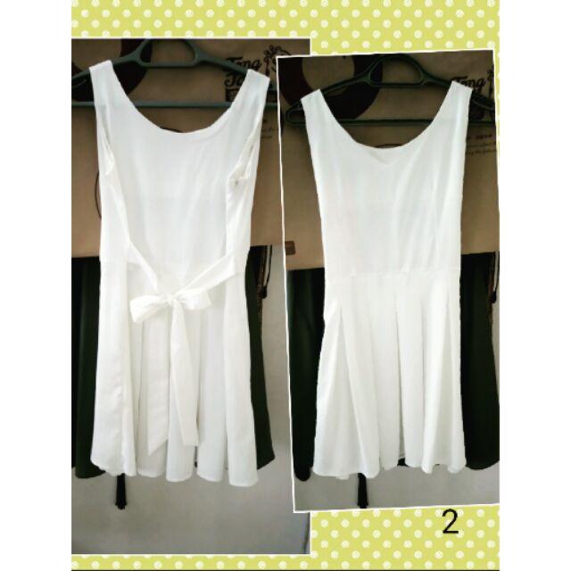 洋裝心型平口洋裝純白洋裝吊帶飄逸雪紡短洋裝純黑v 領洋裝