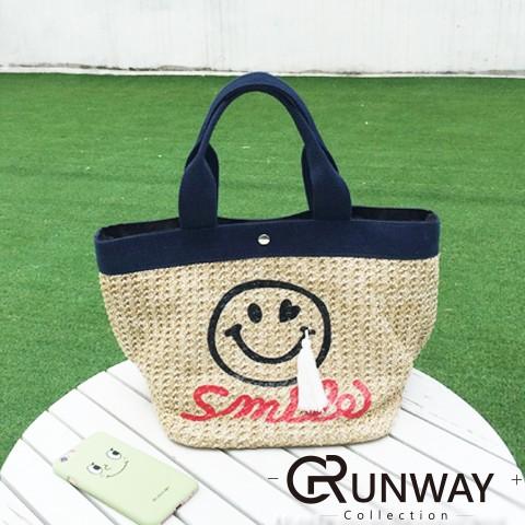 ~現預~韓國 笑臉流蘇裝飾草編包可愛愛心笑臉沙灘包手提編織包 配色編織托特包