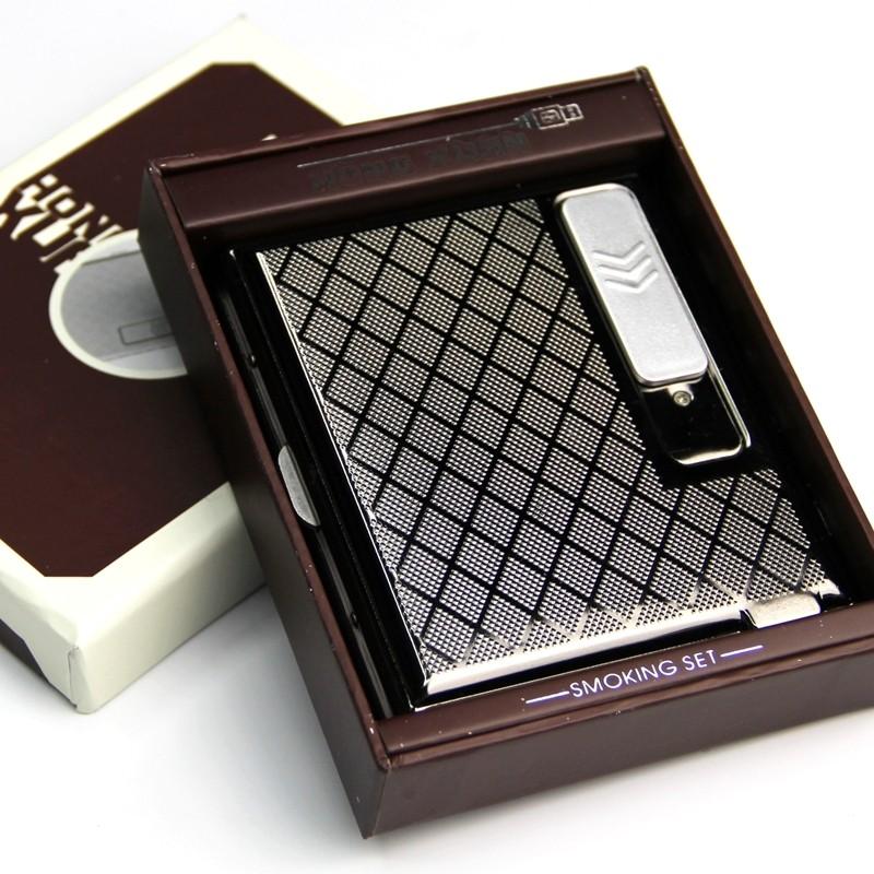 15 20 只裝香金屬自動鐵夾煙盒USB 充電打火機 防風薄電子點煙器