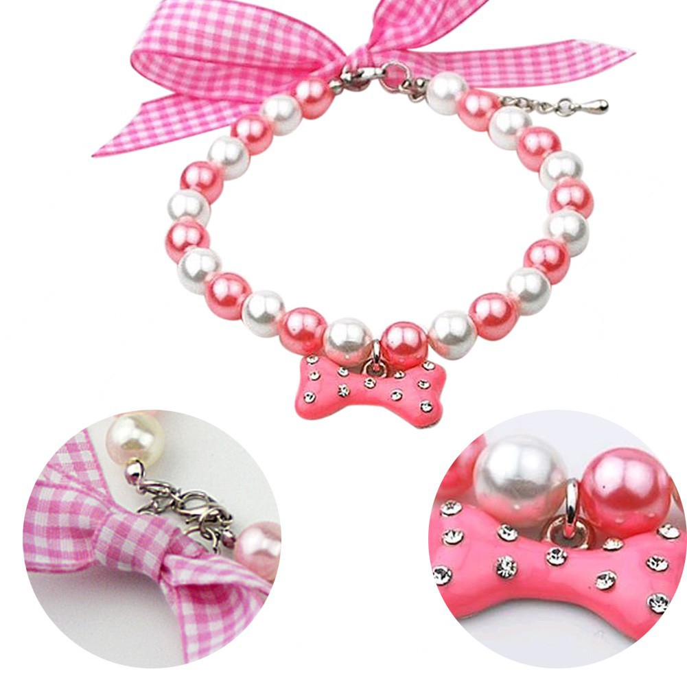 珍珠絲帶骨頭寵物項鍊蝴蝶結寵物淺粉色白色