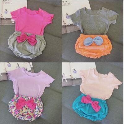 純棉螺紋打底衫純色圓領開肩扣T 恤小童嬰兒女童寶寶