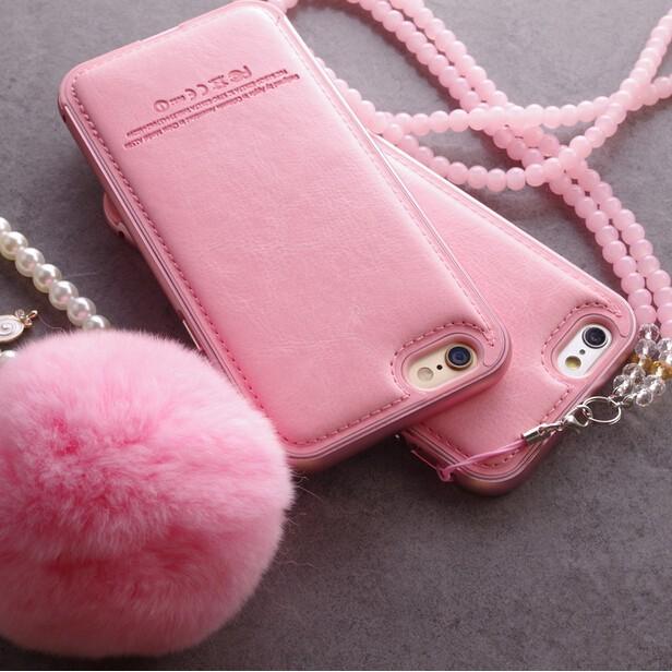 iphone6 蘋果6s 手機殼金屬邊框櫻花粉真皮后蓋式毛球珍珠6plus 潮殼