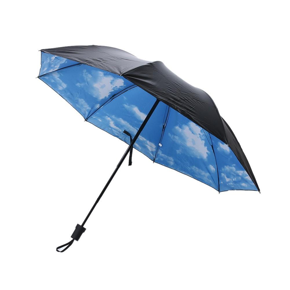3D 藍天白雲印花晴雨傘太陽傘黑膠防紫外線遮陽傘女士防曬傘三折疊傘雨傘58 8k 藍天白雲