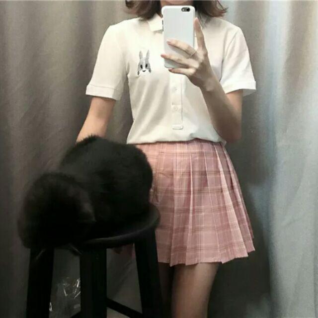 灰兔子學院風修身短袖短版白色polo 衫