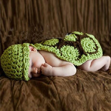 小瓶就好兒童攝影服裝/寶寶滿月百天寫真拍照服/綠色烏龜 毛線編織 帽子