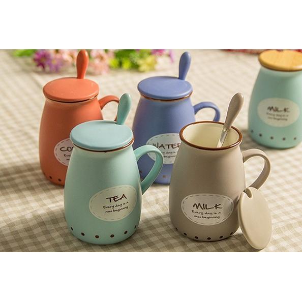 ~免 ~200 複古牛奶杯陶瓷杯子帶蓋勺可愛大肚馬克杯骨瓷咖啡杯 情侶水杯