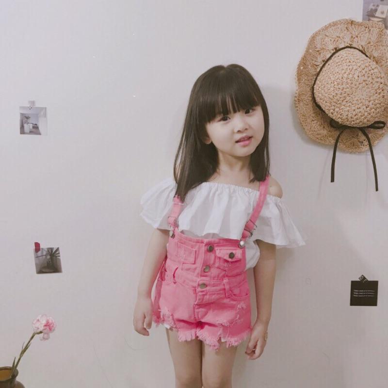 蓁誠 女寶女童兒童寶寶小童甜美荷葉一字領露肩上衣短版娃娃衫吊帶褲牛仔刷破毛邊套裝