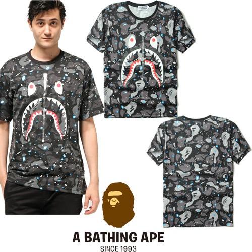 A BATHING APE 7218 款猿人日系街頭潮牌短袖潮牌星空迷彩鲨鱼男款短袖T 恤