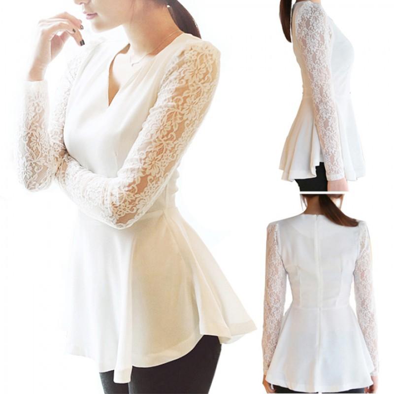 女性嫵媚晚禮服襯衫Peplum 襯衫上衣