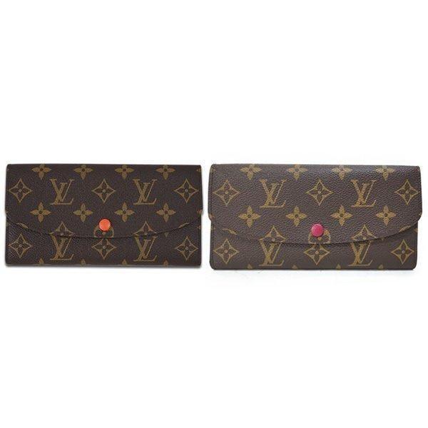Louis Vuitton M60696 M60697 扣式拉鍊零錢長夾橘紅LV 錢包女款