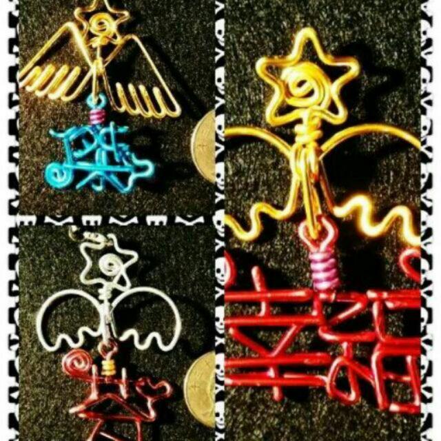 翅膀加中文名鑰匙圈, 鋁線製作, 訂做屬於自己獨一無二鑰匙圈,圖案文字皆可,顏色 精美送禮