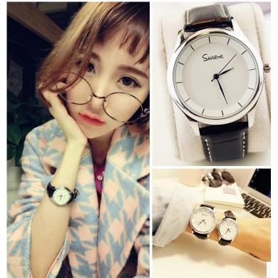 韓國手錶女學生 潮流復古簡約男表女表真皮帶情侶手錶一對