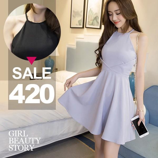 SISI ~D7043 ~性感氣質圓領無袖削肩高腰修身顯瘦純色傘狀裙襬連身裙洋裝