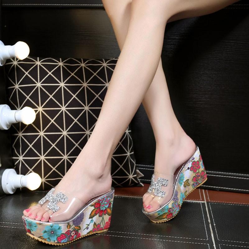 ~100 坡跟魚嘴涼鞋厚底超高跟涼拖鞋 粗跟防水臺蕾絲鏤空女鞋子