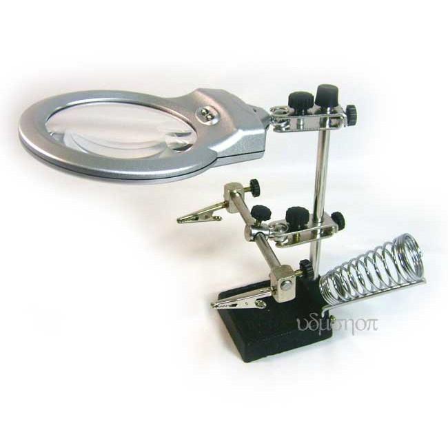放大鏡工作台附烙鐵架機板零件維修架固定機板架放大鏡維修台工作架維修工作台機板固定夾~F00