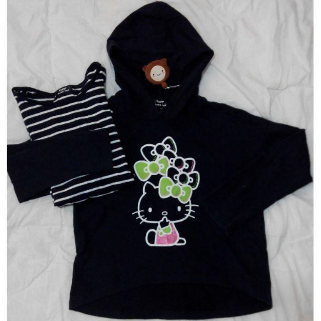 純棉HelloKitty 兩件式可愛蝴蝶結黑色純棉長袖帽衣一組