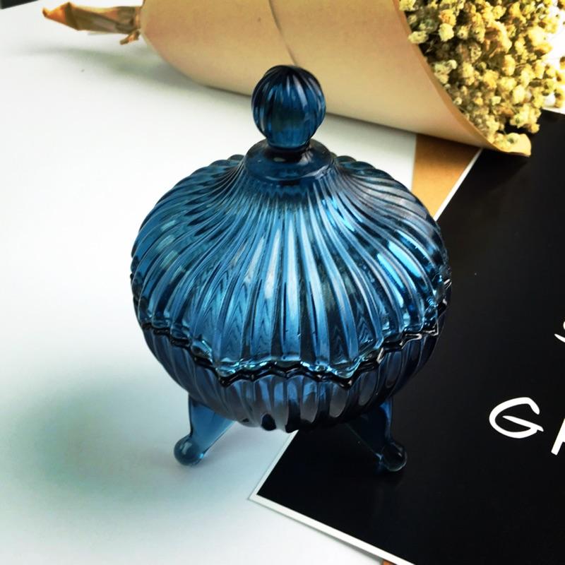 藍色精靈紋路玻璃罐收納罐小糖果罐首飾收納罐