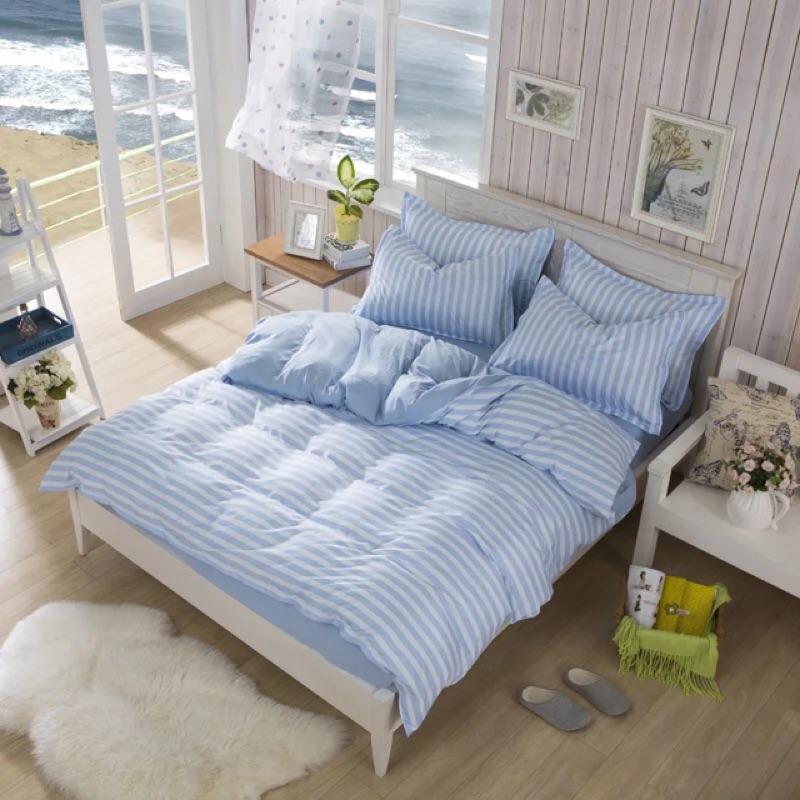北歐清新海洋橫條床包四件組三件組床單被套枕套床組ikea zera 無印良品