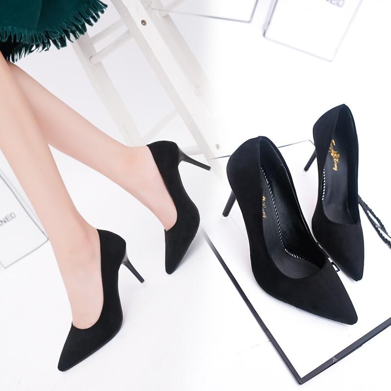 尖頭高跟短靴細跟短筒后拉鏈馬丁靴皮面百搭純色女靴