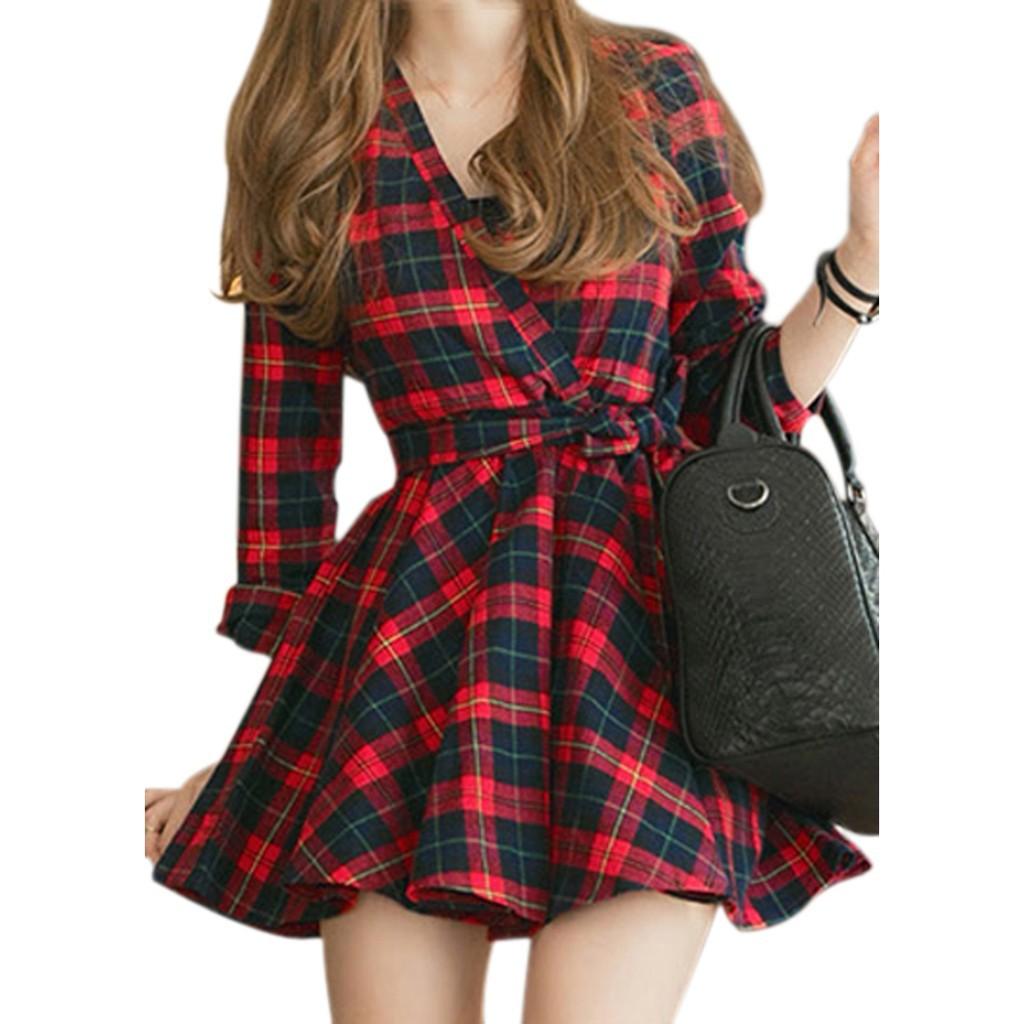 韓系❤街拍正妹加厚收腰格紋顯瘦喔!迷你蓬蓬裙翻領長袖洋裝