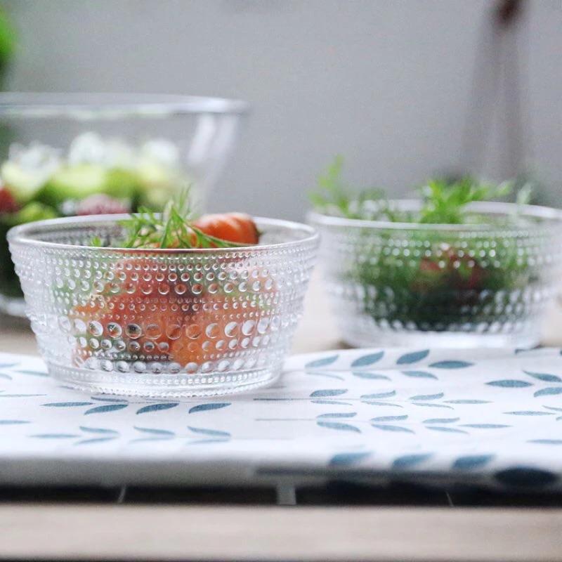 清透水珠玻璃碗沙拉碗水果盤小菜盤
