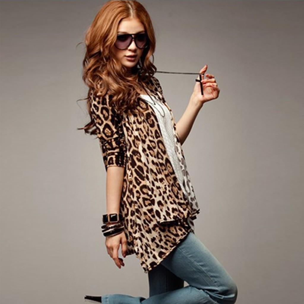 豹紋襯衫休閒女裝上衣外套不規則長襯衫