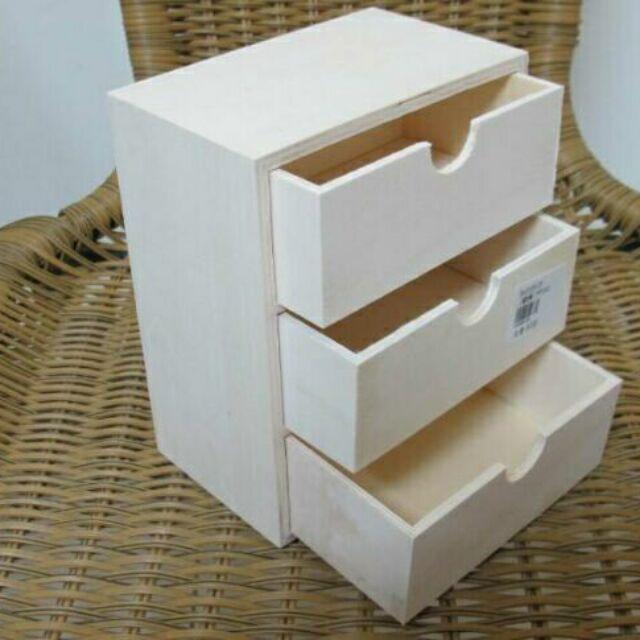 小巧桌上型木製三層抽屜盒收納盒抽屜式收納櫃