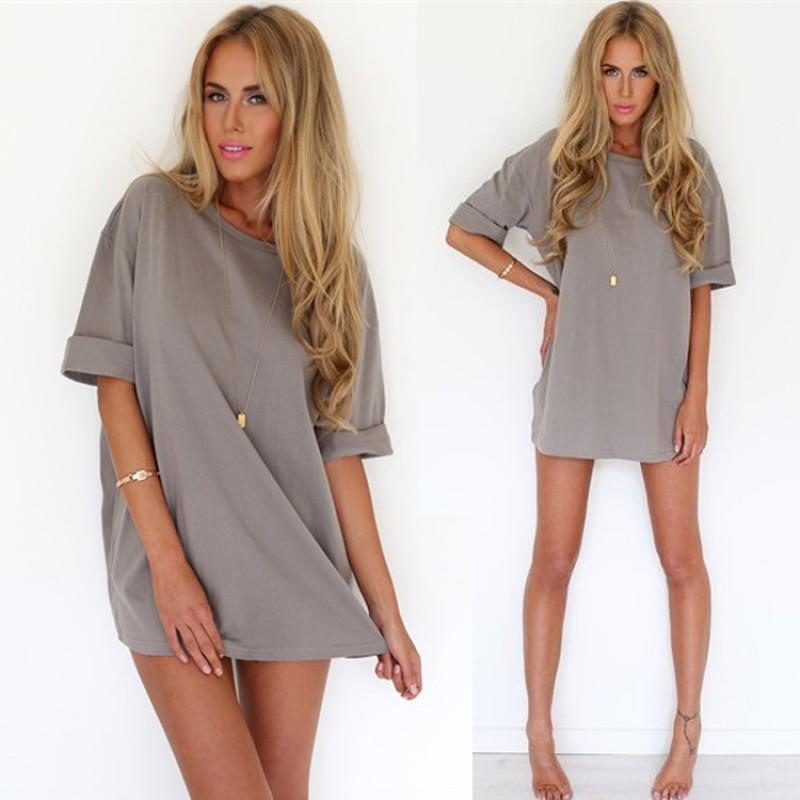 夏日性感 女裝短袖寬鬆素色休閒長版上衣連身裙