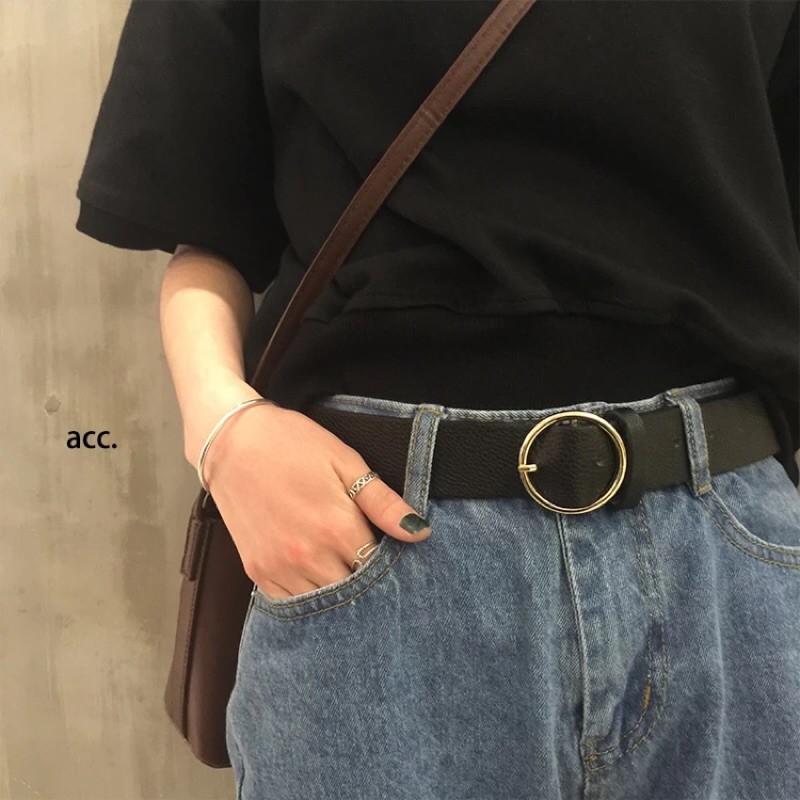 ~女神新衣~韓國街頭超 復古圓釦寬皮帶 牛仔褲牛仔寬褲超