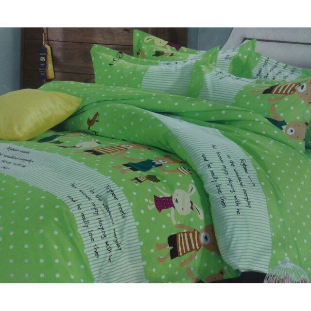 來成雙人床包組加大特大單人薄床包天絲絨舒柔棉涼被薄被套兩用被 床包歡樂熊熊熊大熊熊家庭