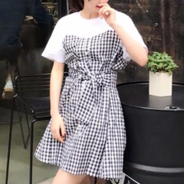 女生洋裝百搭休閒修身甜美風 小清新格子連衣裙