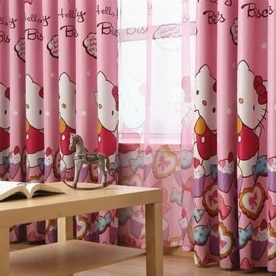 Hello kitty 凱蒂貓K3 新型遮陽隔熱遮光卡通窗簾布窗紗兒童房窗簾隔間門簾客廳窗