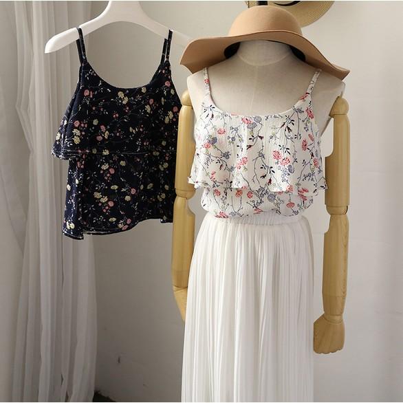 吊帶女甜美小清新2017 夏新品碎花荷葉邊雪紡吊帶衫女士上衣