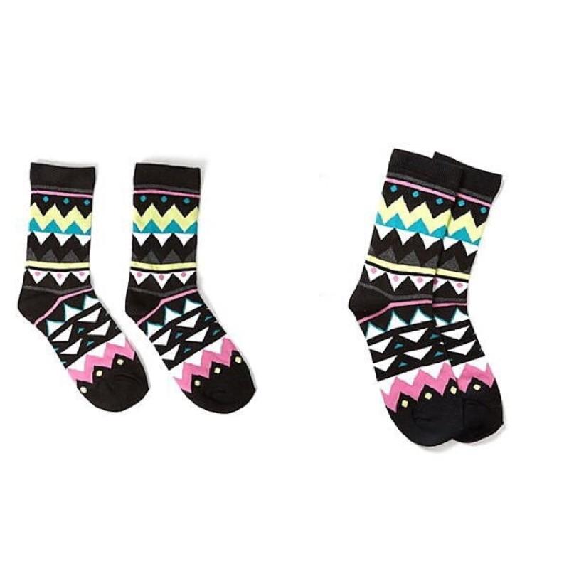 美國品牌Forever21 亮彩幾何圖形低調古文明圖騰女襪子2 款