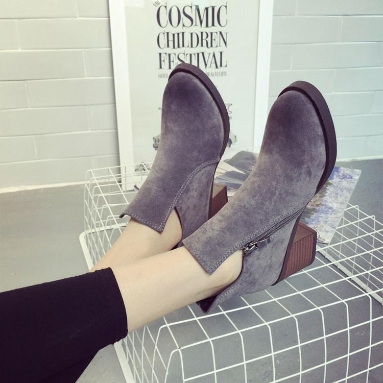 2015 英倫復古中跟短靴粗跟磨砂側拉鏈女鞋裸靴顯瘦馬丁女靴子