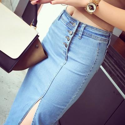 2016 春夏牛仔裙半身裙中長款高腰排扣開叉彈力修身顯瘦包臀長裙