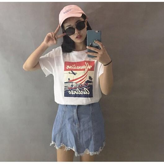 復古帆船印花潮T 圓領短袖T 恤衫兩色