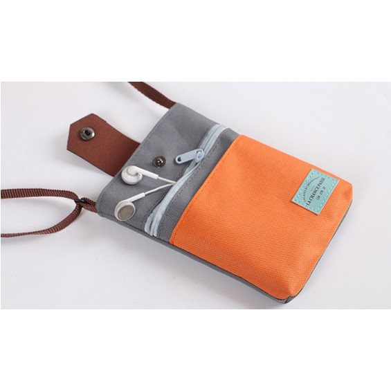 ~小瑋的店~方包撞色 側肩斜背包 拉鍊背帶出國旅遊收納包皮革置物包壓扣護照包