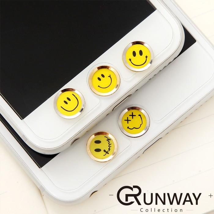 蘋果iPhone 6s Plus 韓國笑臉指紋按鍵貼手機平板系列HOME 鍵貼可愛圖案支援