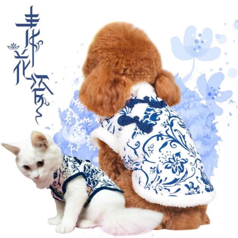 ۞芙芙遊樂園۞( )2017 古典青花瓷貓咪衣服旗袍過年拜年貓衣服唐裝變身裝狗狗衣服寵物衣