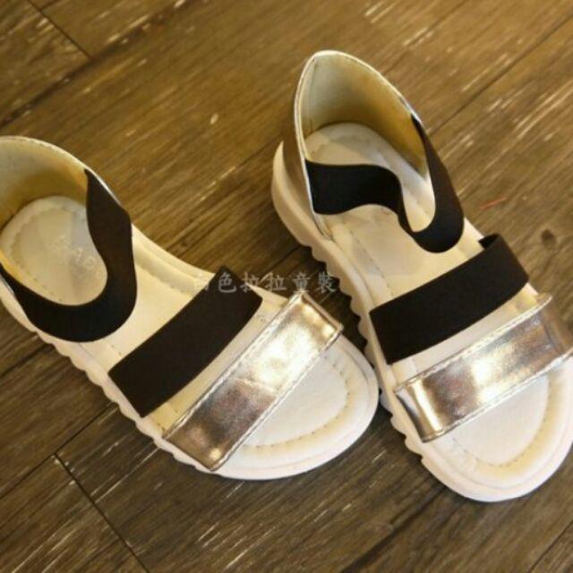 ~白色拉拉 ~~2016 夏HA6850SV ~〜26 號34 號親子款〜黑銀配色休閒涼鞋