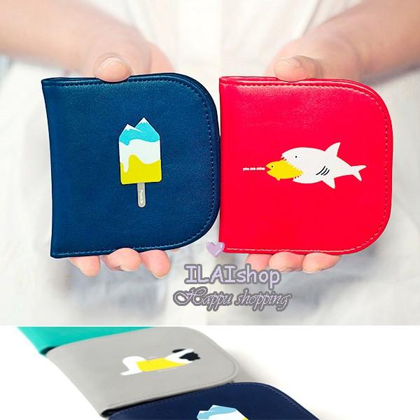 超薄迷你錢包SOMMER 短夾趣味塗鴉卡夾式高 鈔票夾大魚吃小魚救命冰山雪糕仰臥起坐