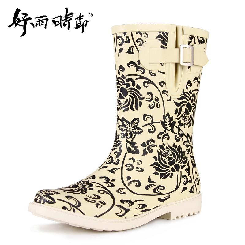 中筒女式青花瓷雨鞋中國風青花女士雨靴套鞋