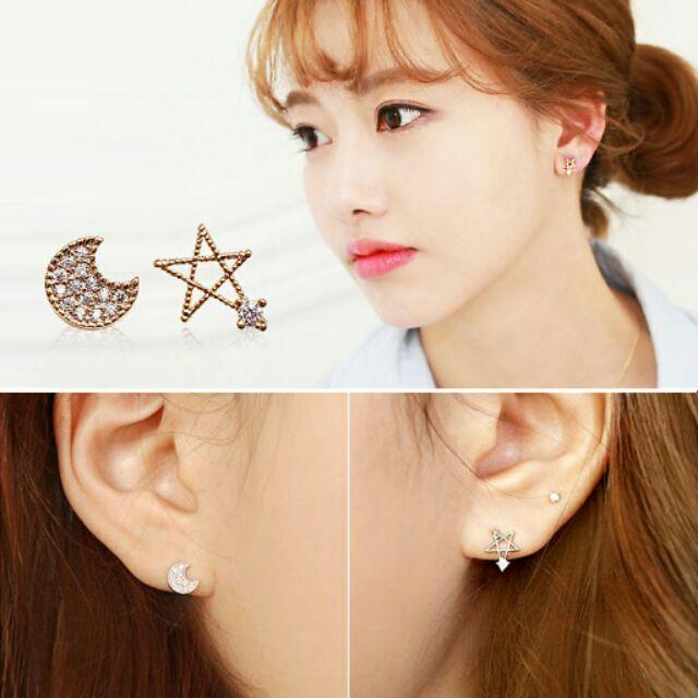 ╭~蕾兒0509 ~╮KB003 韓系甜美小巧不對稱精緻星星月亮日耳釘耳骨釘保色耳環飾品