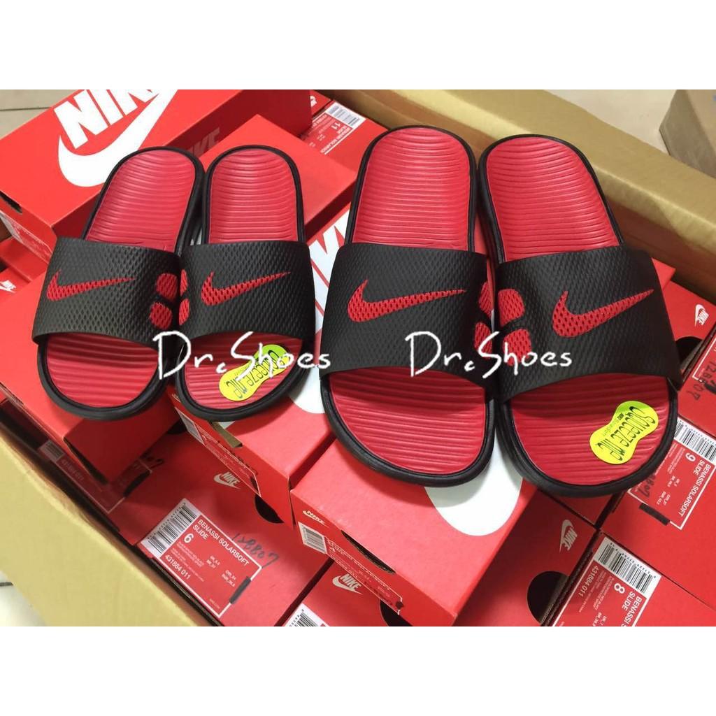 【Dr Shoes 】Nike Benassi Solarsoft 黑紅男款男女鞋軟底拖鞋