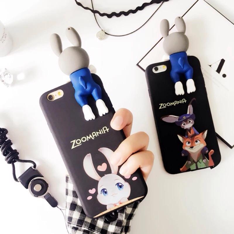 韓國可愛卡通兔手機殼iPhone7 plus iPhone6 plus 掛繩矽膠套