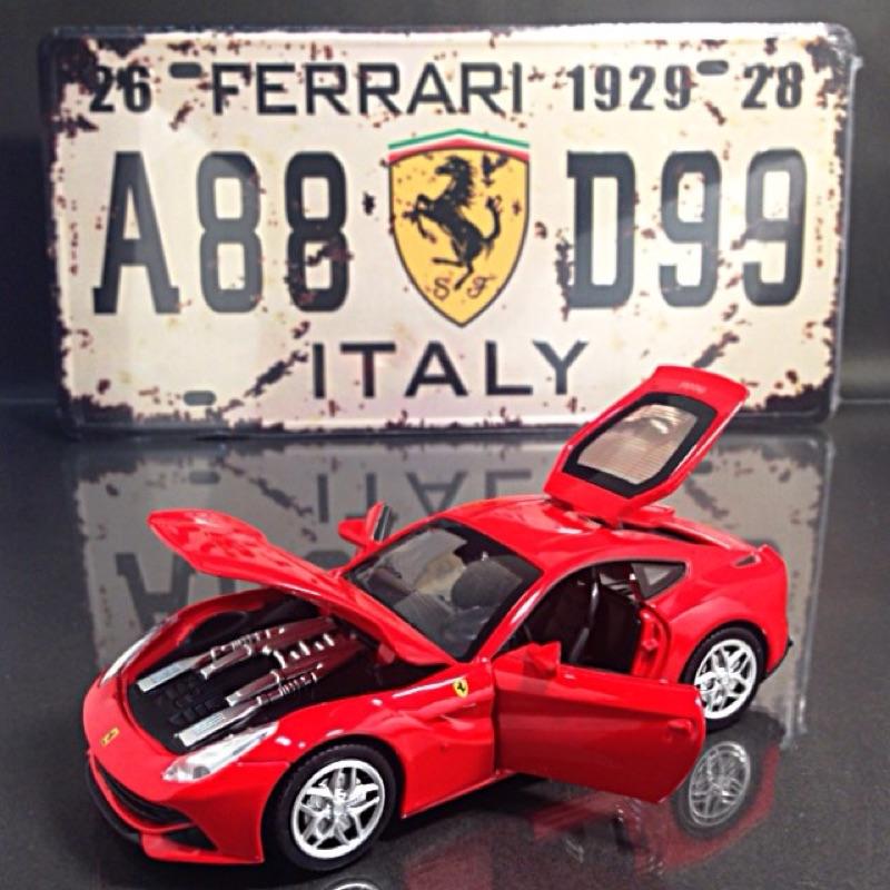 F12 有夠快模型車裝飾鐵牌組法拉利紅