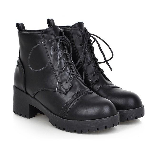 118 119 新品 可愛中跟系帶短筒靴少女馬丁靴防水臺粗跟學生短靴子黑色37
