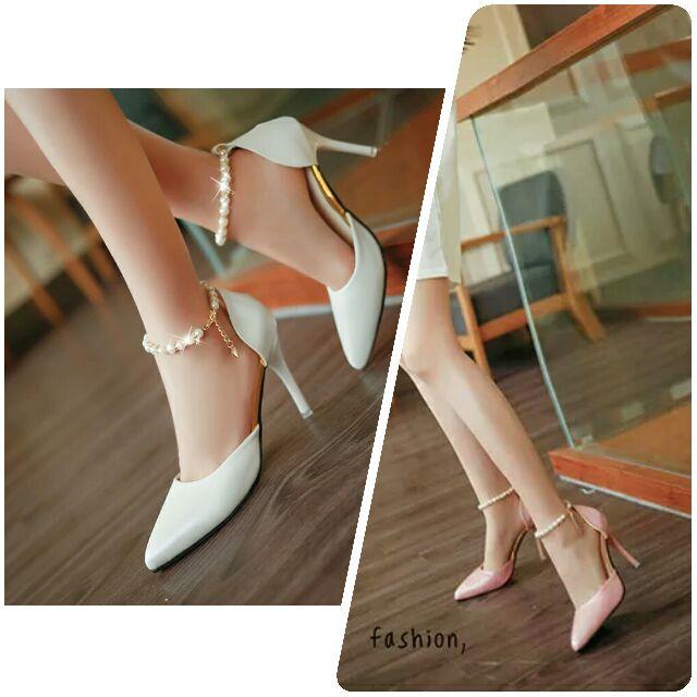 珍珠扣帶細跟高跟春 尖頭鞋子粉色珍珠扣帶涼鞋細跟高跟鞋