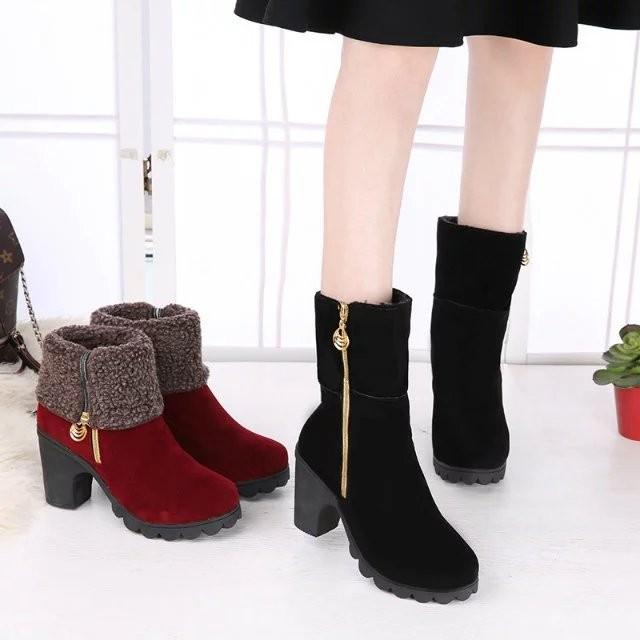 2016 秋 兩穿短靴側拉鏈磨砂皮高跟粗跟女靴保暖中筒靴 內增高單靴單鞋休閒鞋中筒靴子雪地